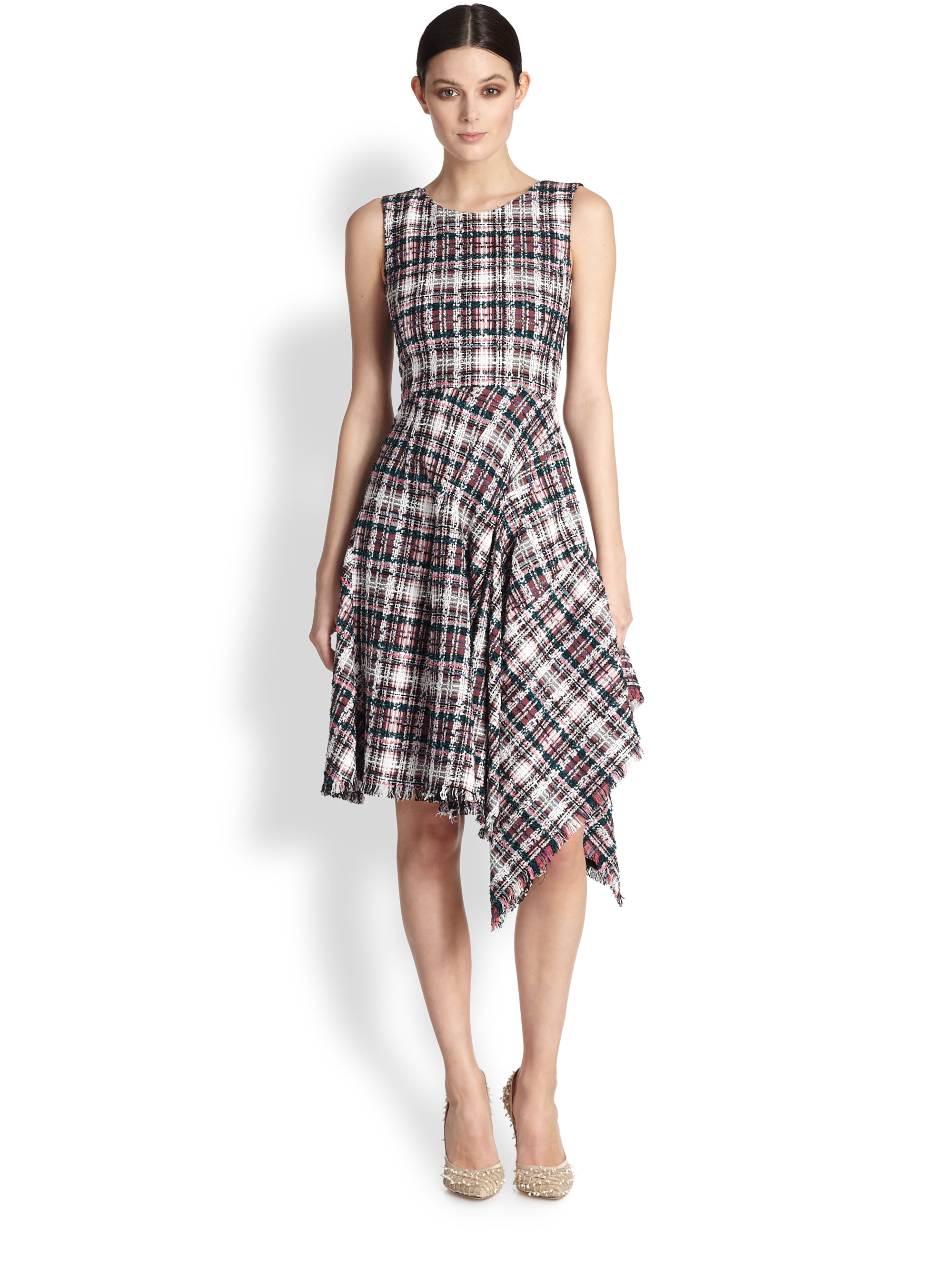 Lyst - Oscar De La Renta Asymmetrical Flamingo Plaid Tweed Dress