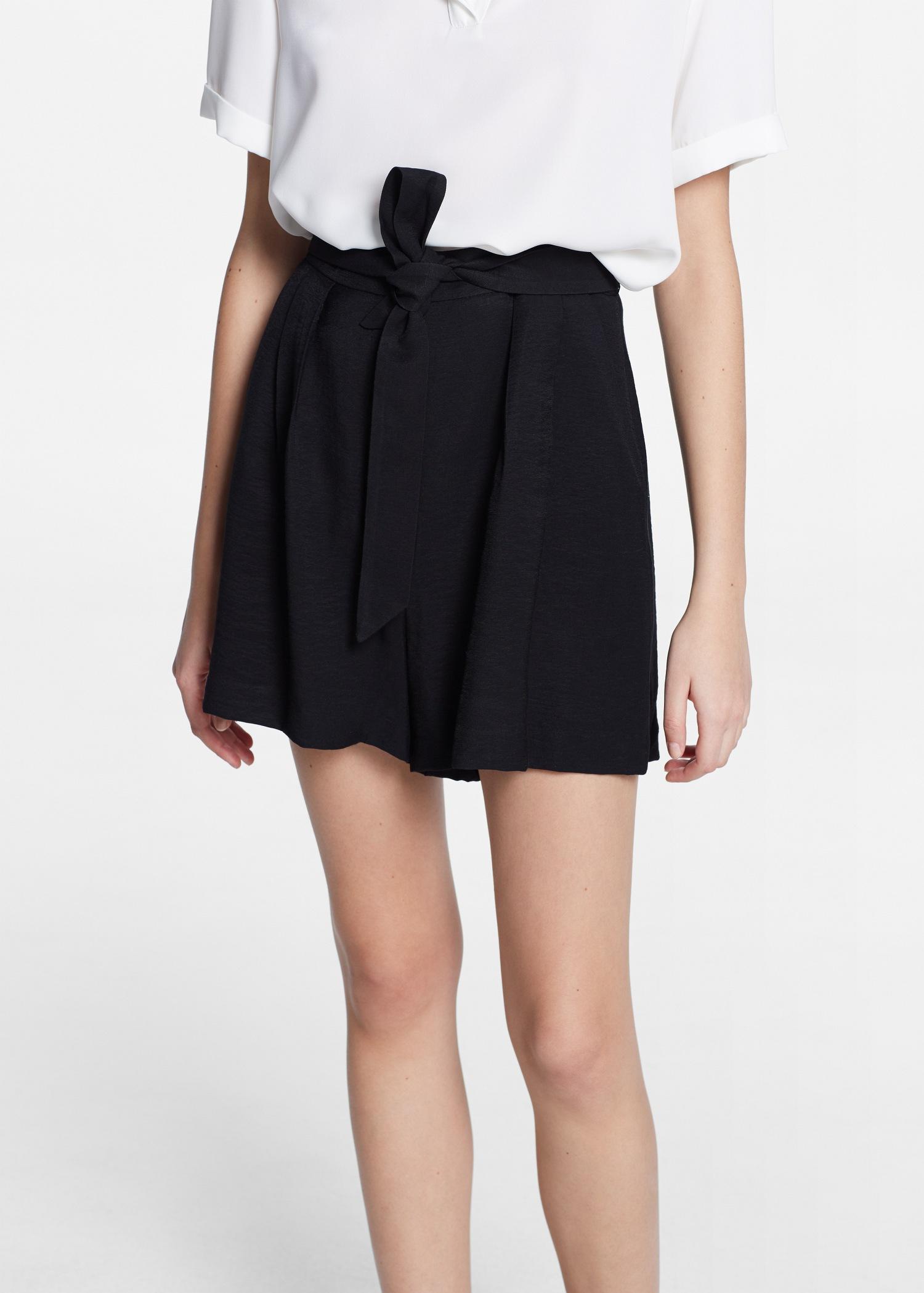 Mango Bow Flowy Shorts in Black | Lyst