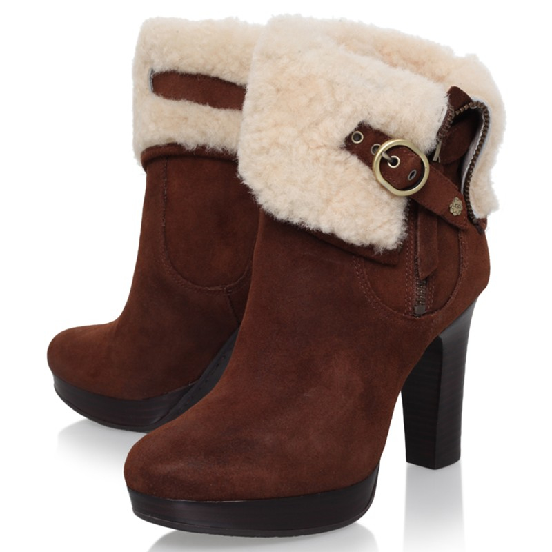 fa1241c3bd0 UGG Scarlett High Block Heeled Ankle Boots in Brown - Lyst