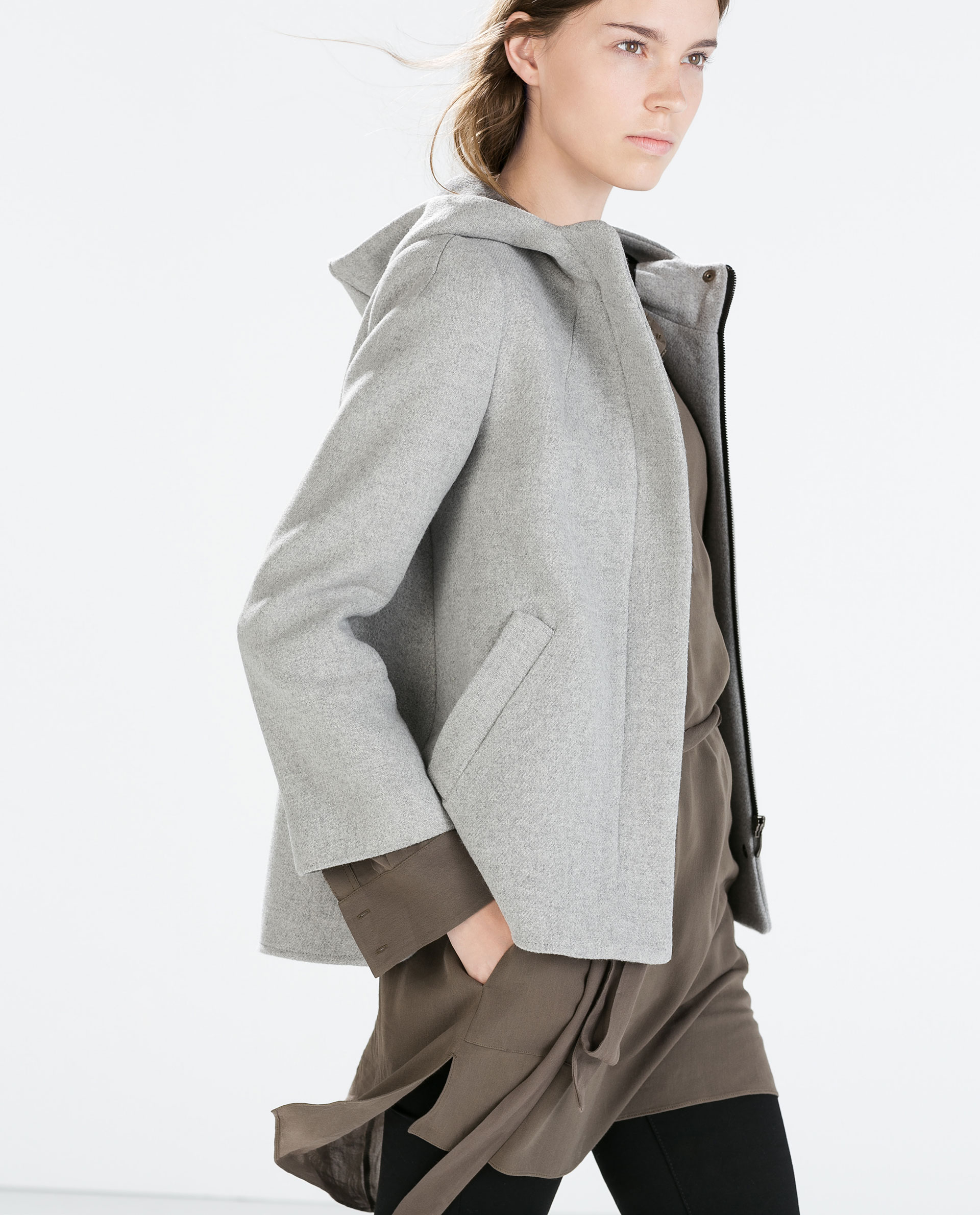 Zara Short Coat With Hood in Gray | Lyst