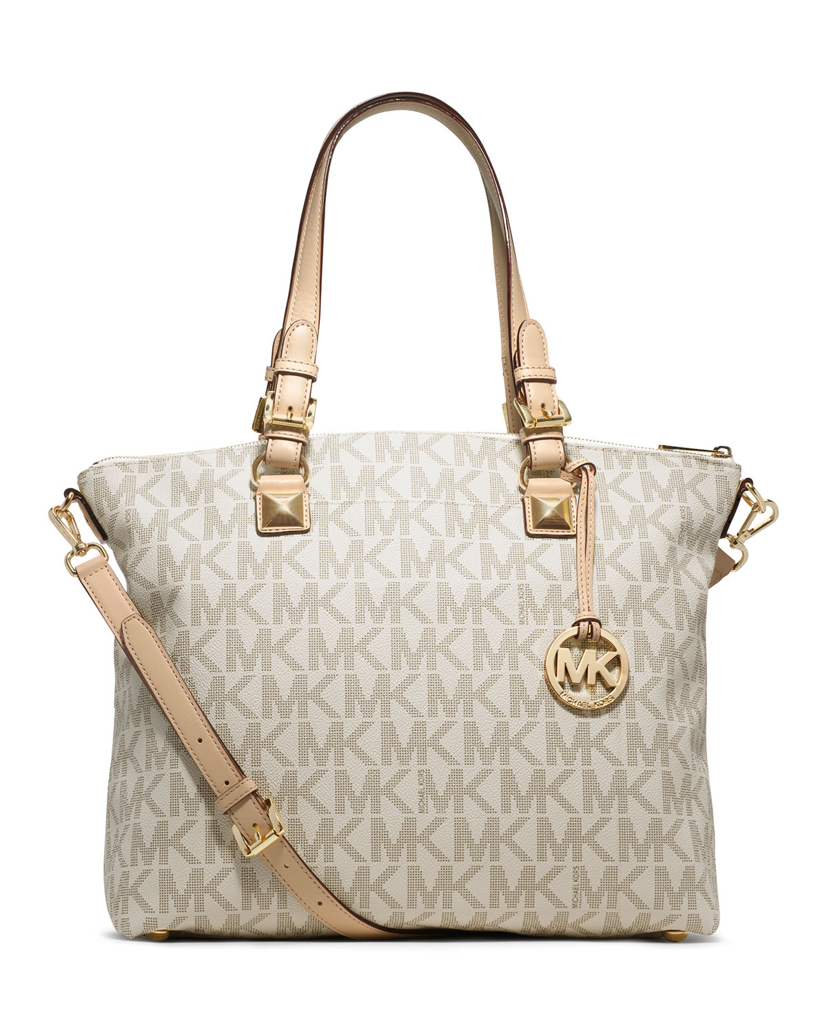 00810ac402a1 Lyst - Michael Kors Michael Jet Set Logo Multifunction Tote in Natural