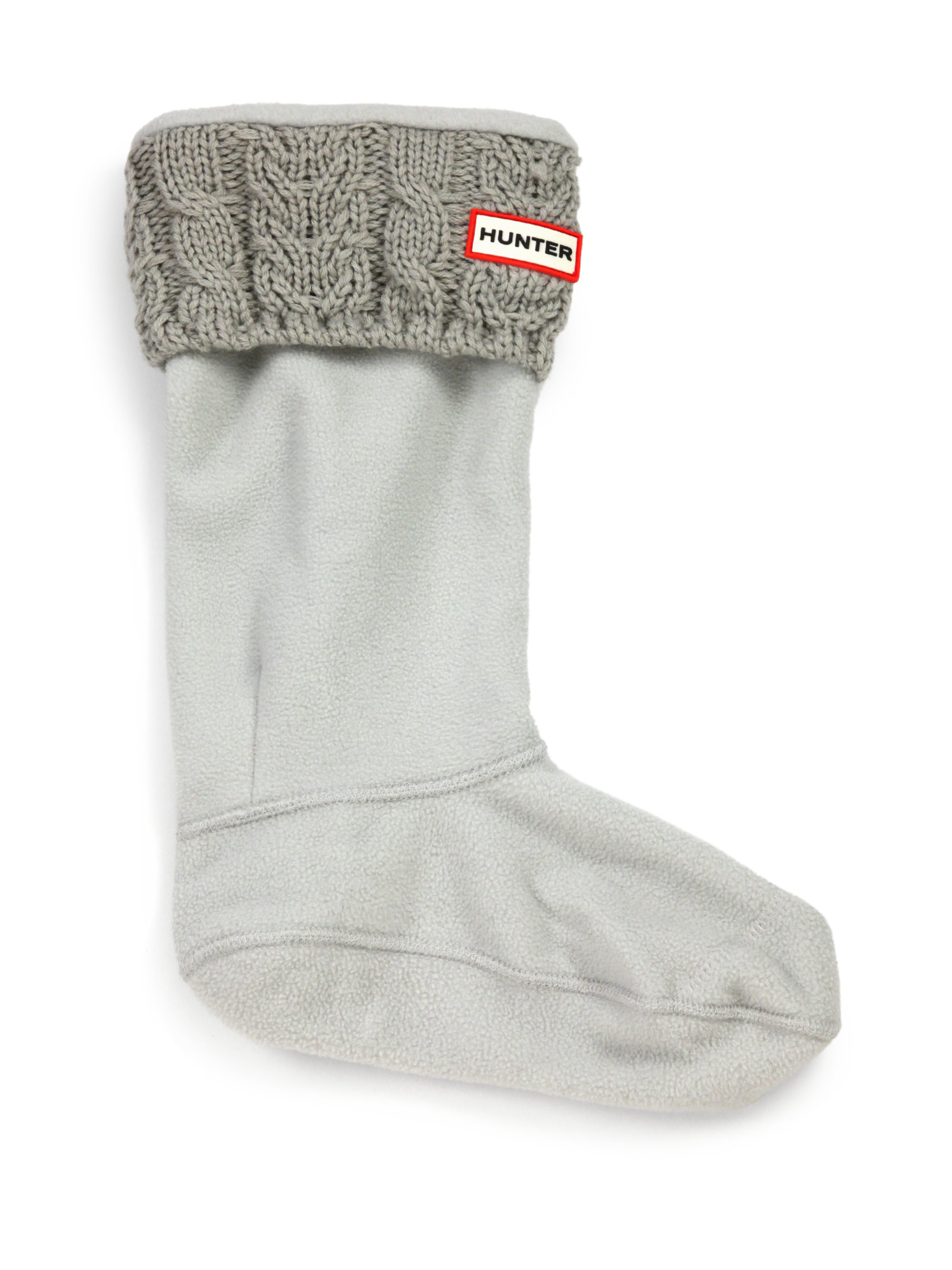 Free Knitting Pattern For Welly Socks : Hunter Cable-Knit Cuff Welly Socks in Gray (GREY) Lyst