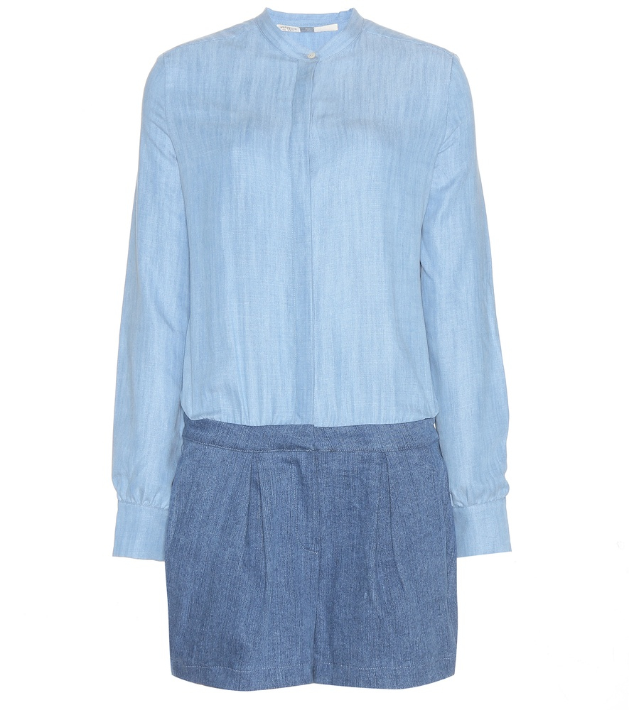 Lyst 7 for all mankind denim and chambray playsuit in blue for Chambray 7 s