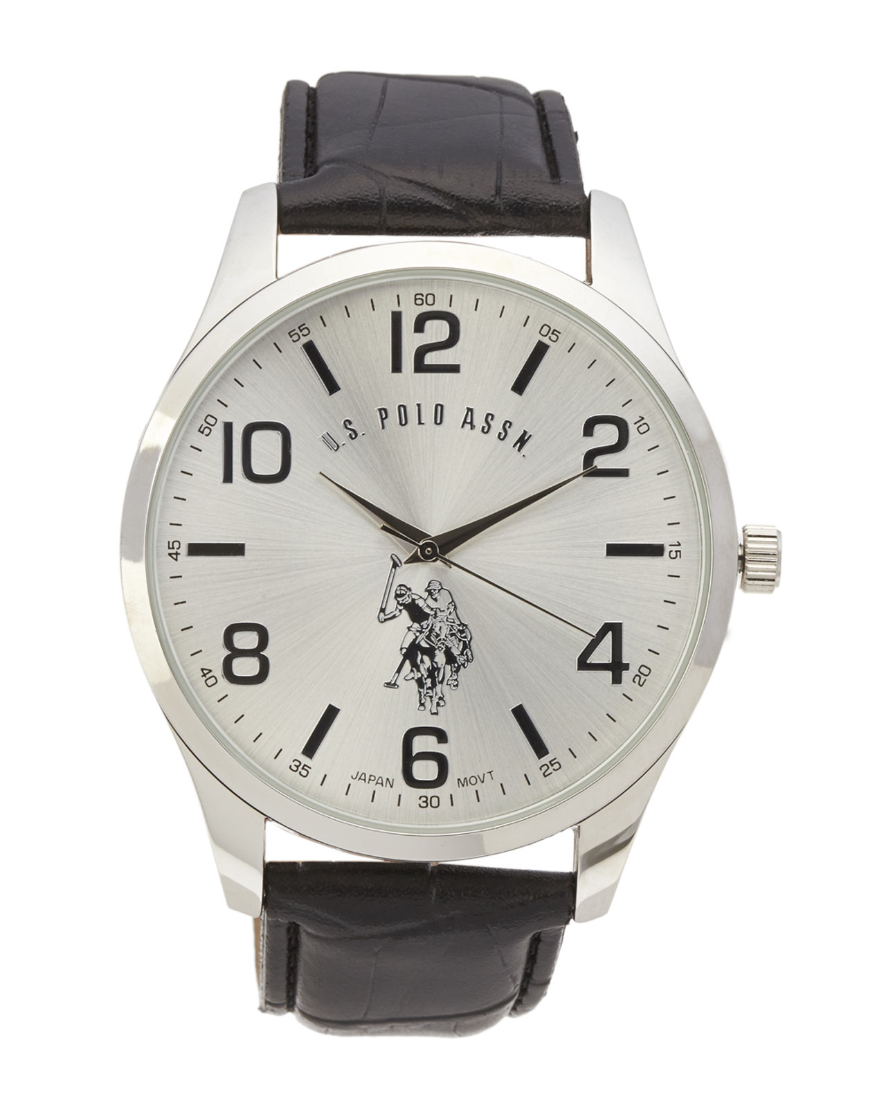 u s polo assn usc50224 silver tone black watch in metallic for gallery
