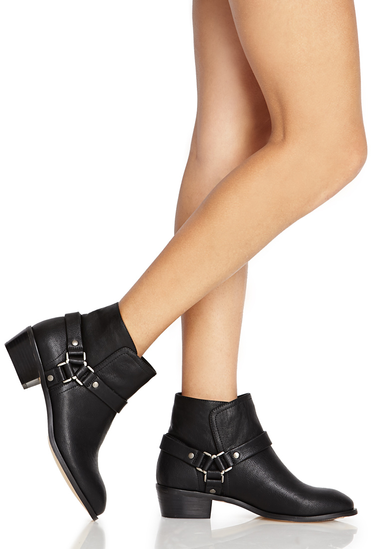 Lyst Forever 21 Harness Ankle Boots In Black