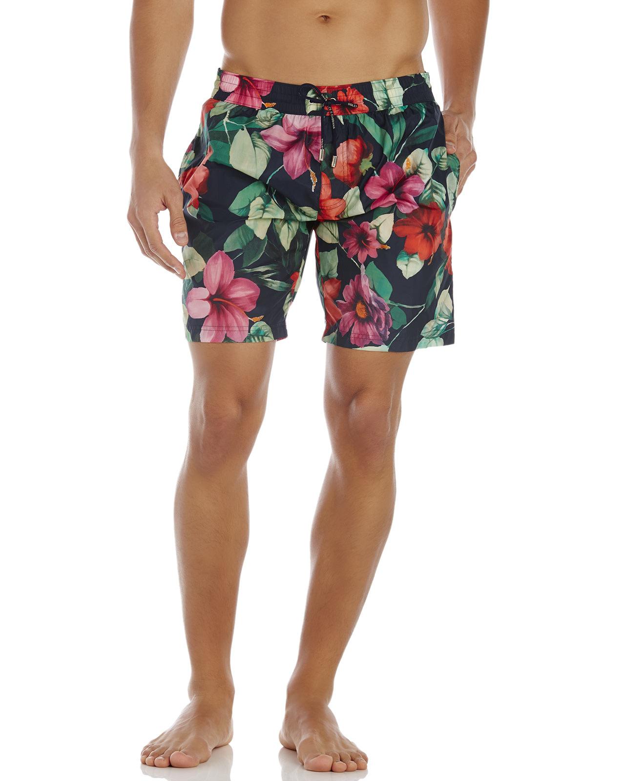 14db4b489de34 Dolce & Gabbana Navy Floral Print Swim Trunks for Men - Lyst