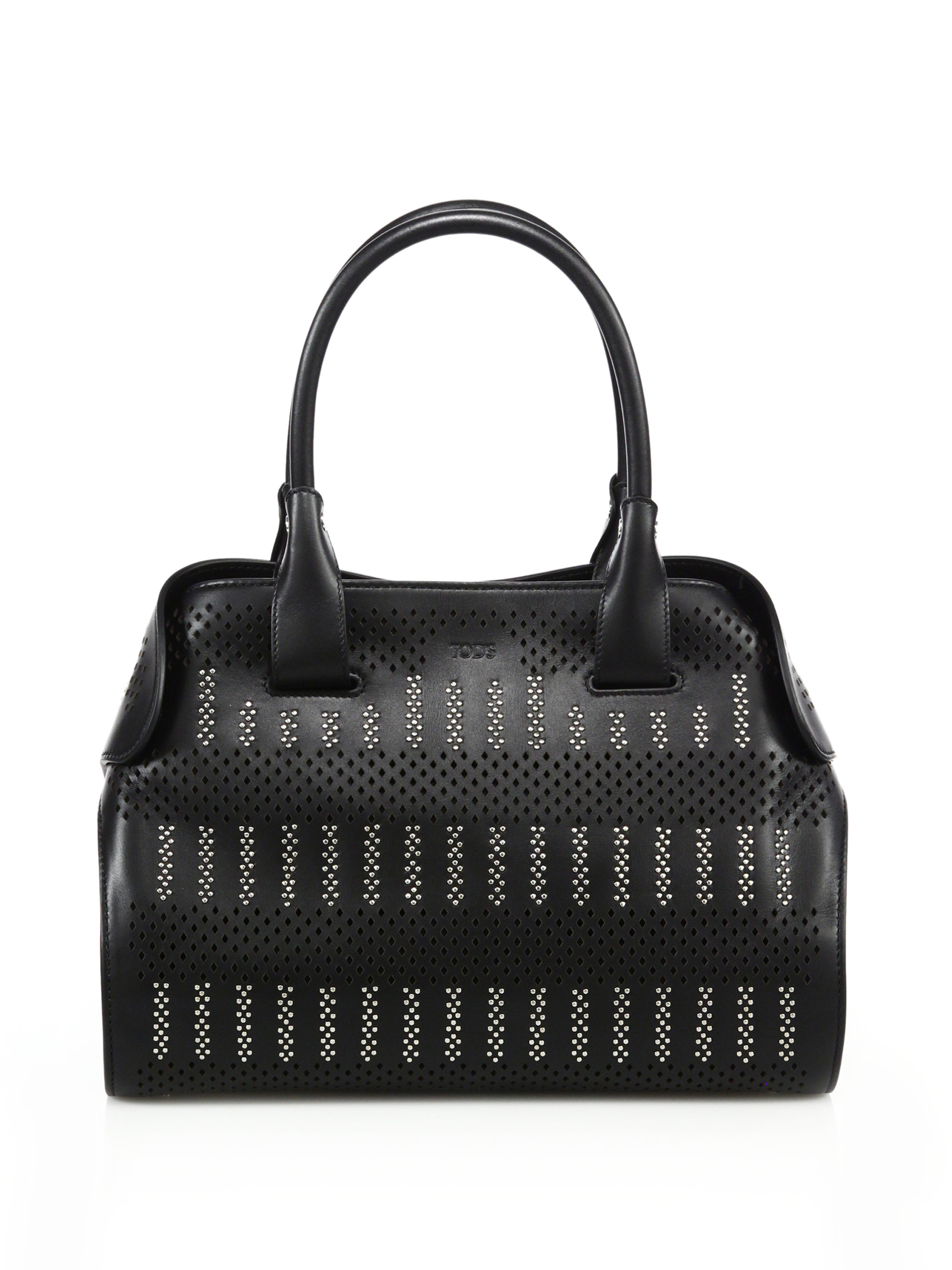 8de64a123b7 Tod's Cape Small Studded Laser-cut Leather Satchel in Black - Lyst