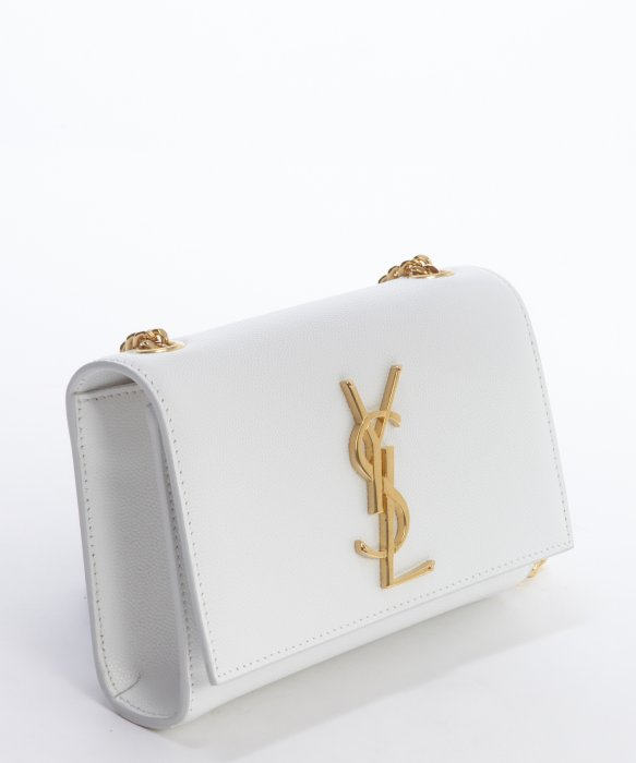 Saint laurent Optical White Leather Eather Ysl Shoulder Bag in ...