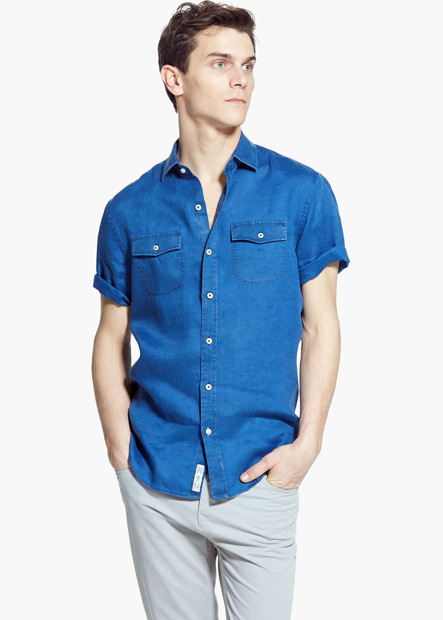 ab58f74bcdbf Mango Slim-Fit Short-Sleeve Linen Shirt in Blue for Men - Lyst