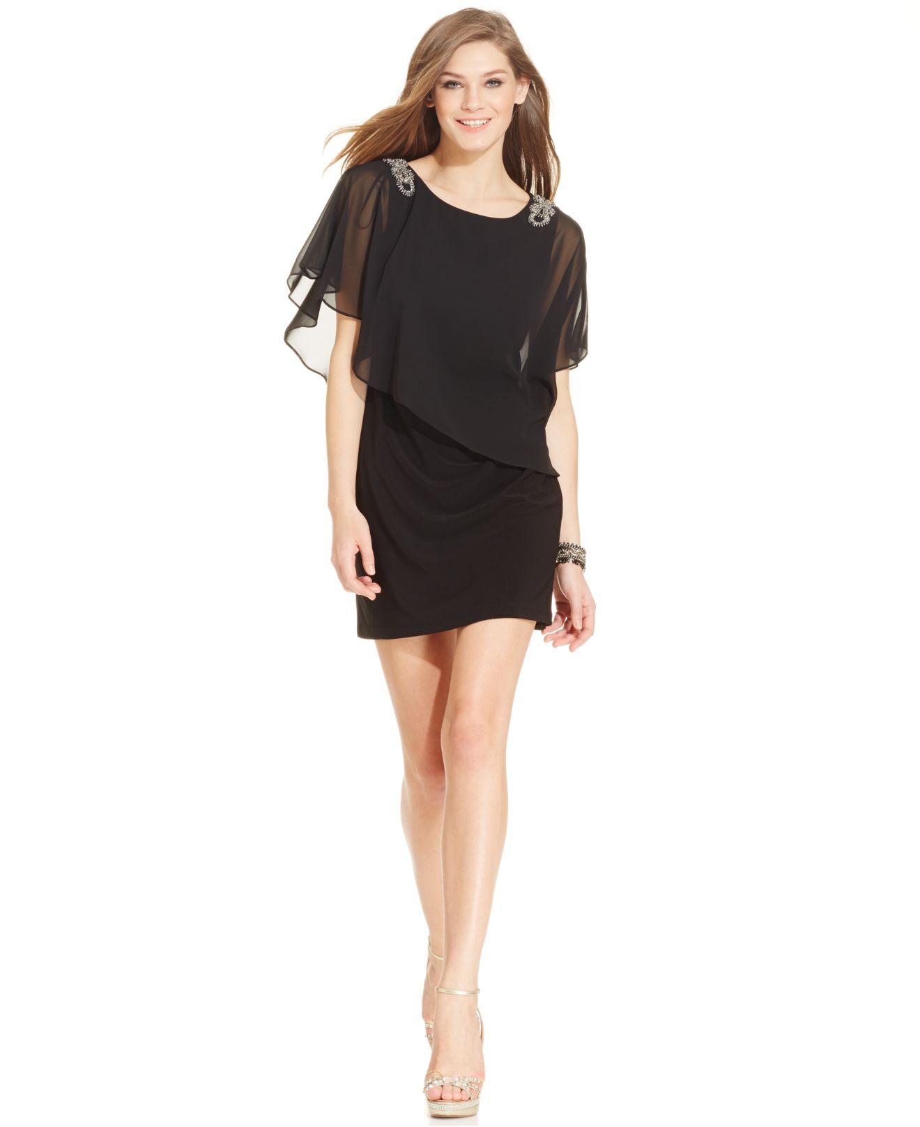 Xscape Petite Embellished Chiffon Capelet Dress in Black   Lyst