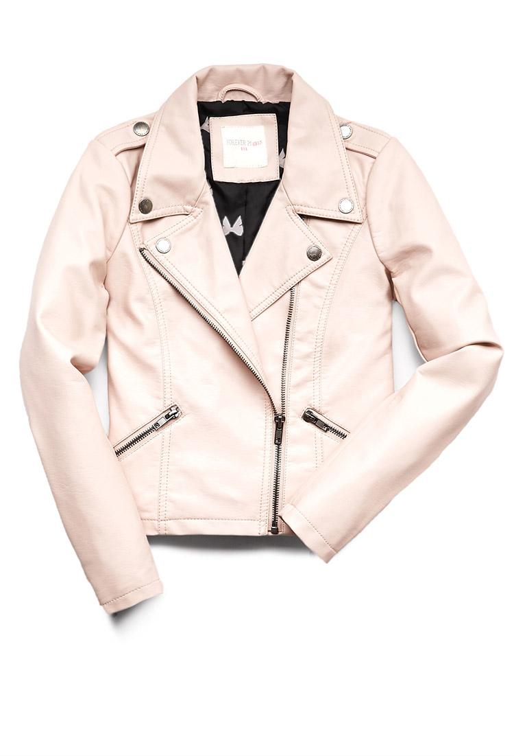 Pink Leather Jacket Kids - Cairoamani.com