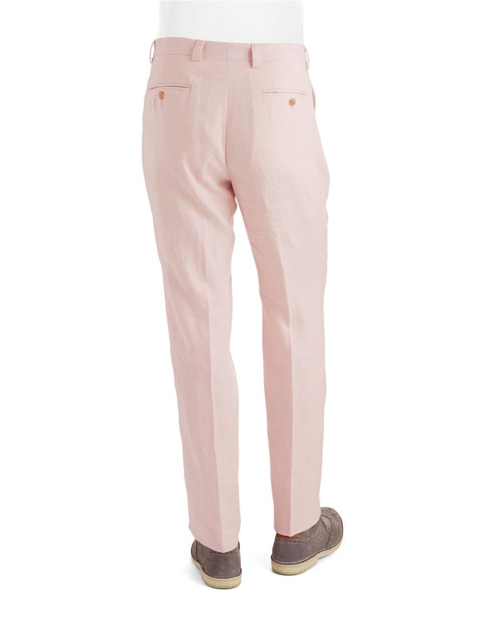 Lauren by ralph lauren Solid Linen Pants in Pink for Men | Lyst
