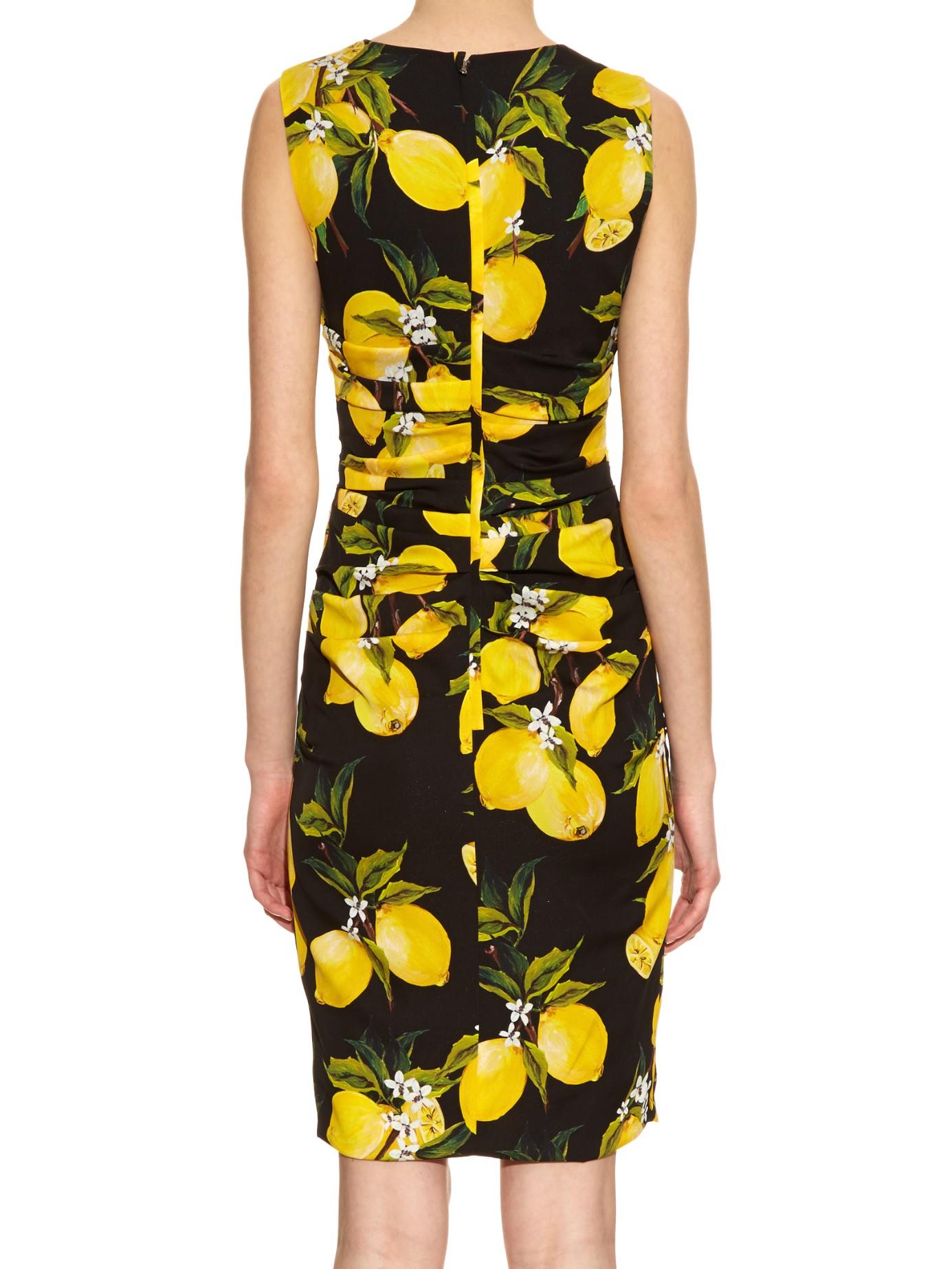 1d6497f4bfe8 Dolce & Gabbana Lemon-print Ruched Silk Dress in Black - Lyst