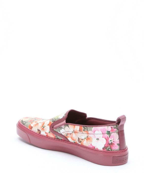 gucci pink gg canvas blooms print slip on sneakers in pink lyst. Black Bedroom Furniture Sets. Home Design Ideas