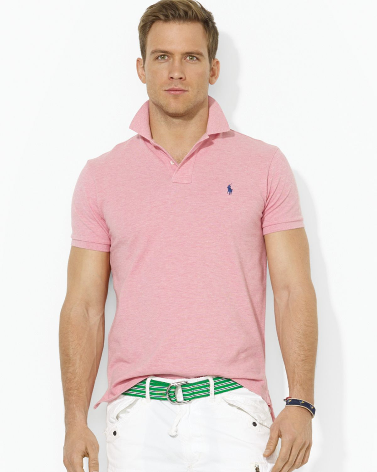 9fcd0403 ... new style lyst ralph lauren polo custom mesh polo shirt slim fit in  pink for men