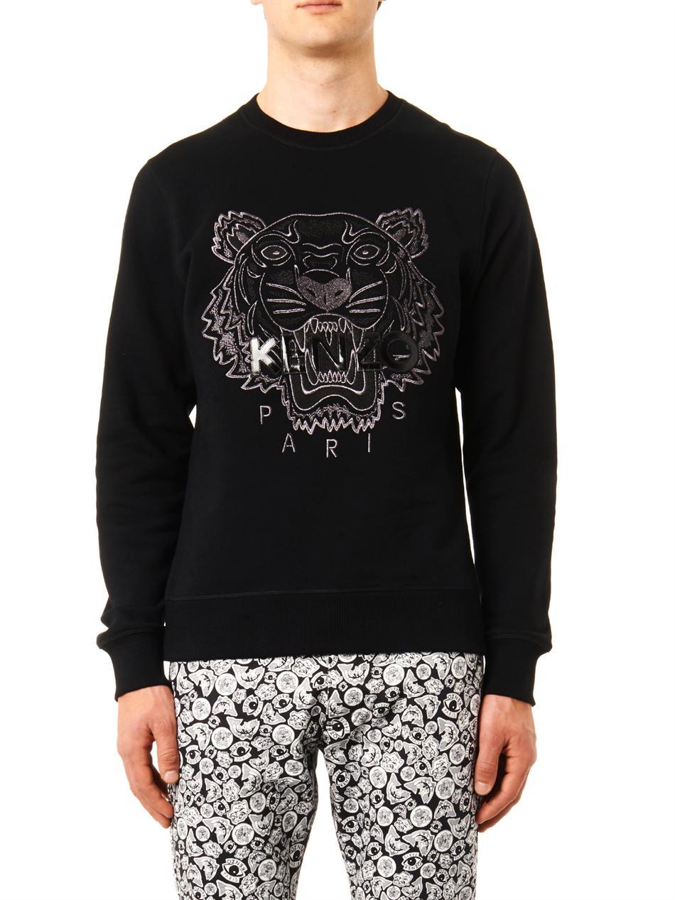 78918f230 KENZO Tigerembroidered Sweatshirt in Black for Men - Lyst