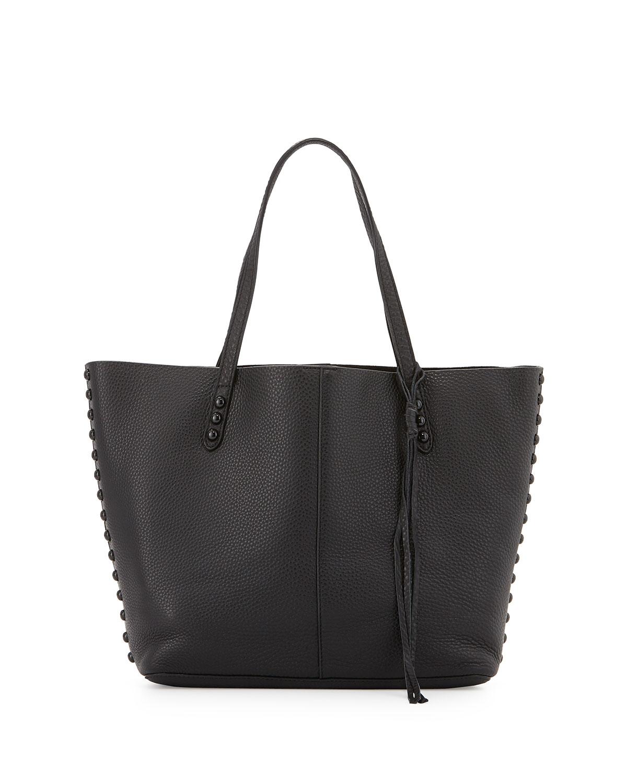 rebecca minkoff studded pebbled leather tote bag in black. Black Bedroom Furniture Sets. Home Design Ideas