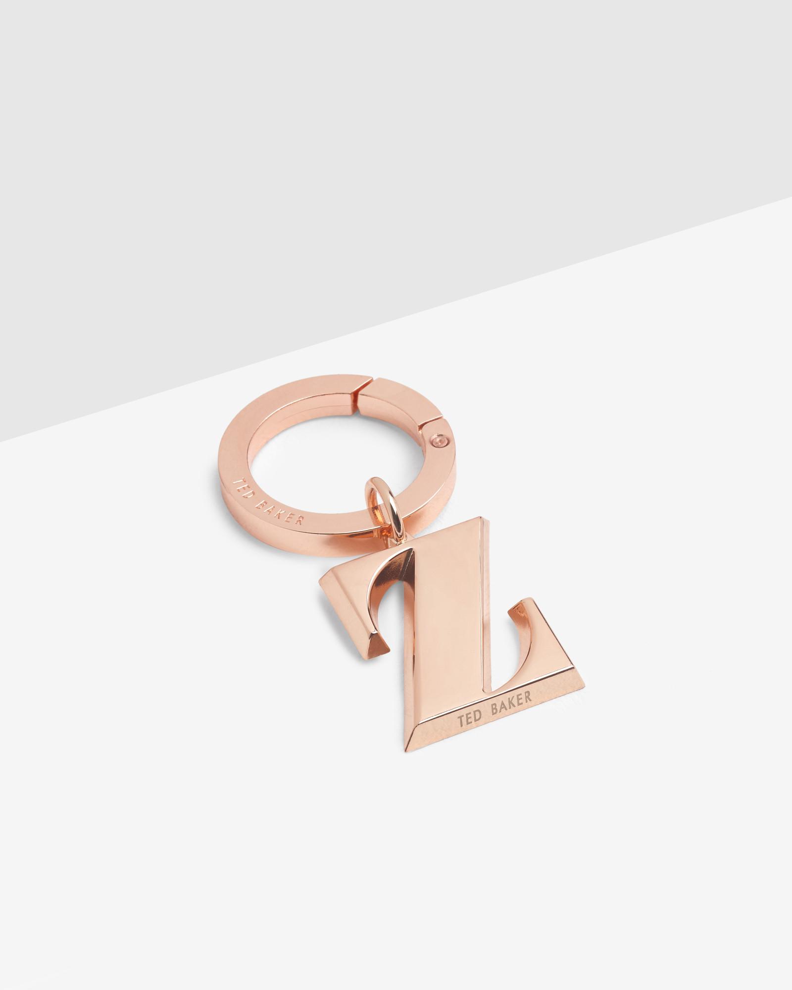 Ted baker letter z keyring charm in pink lyst for Rose gold letter charms