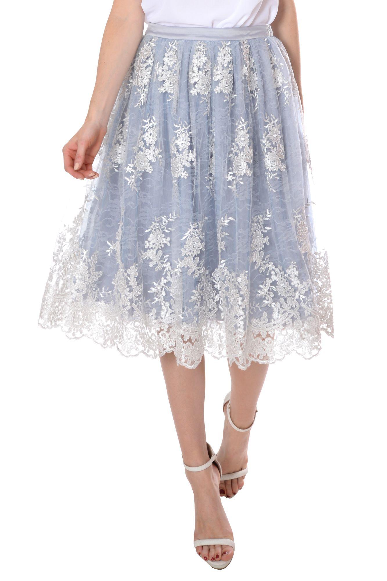 true decadence midi lace skirt in multicolor multi
