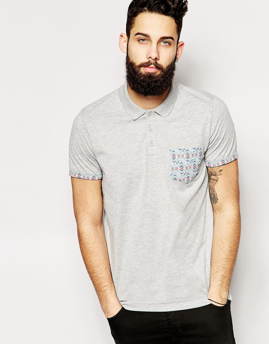 Lyst Asos Longline Polo Shirt With Aztec Print Pocket