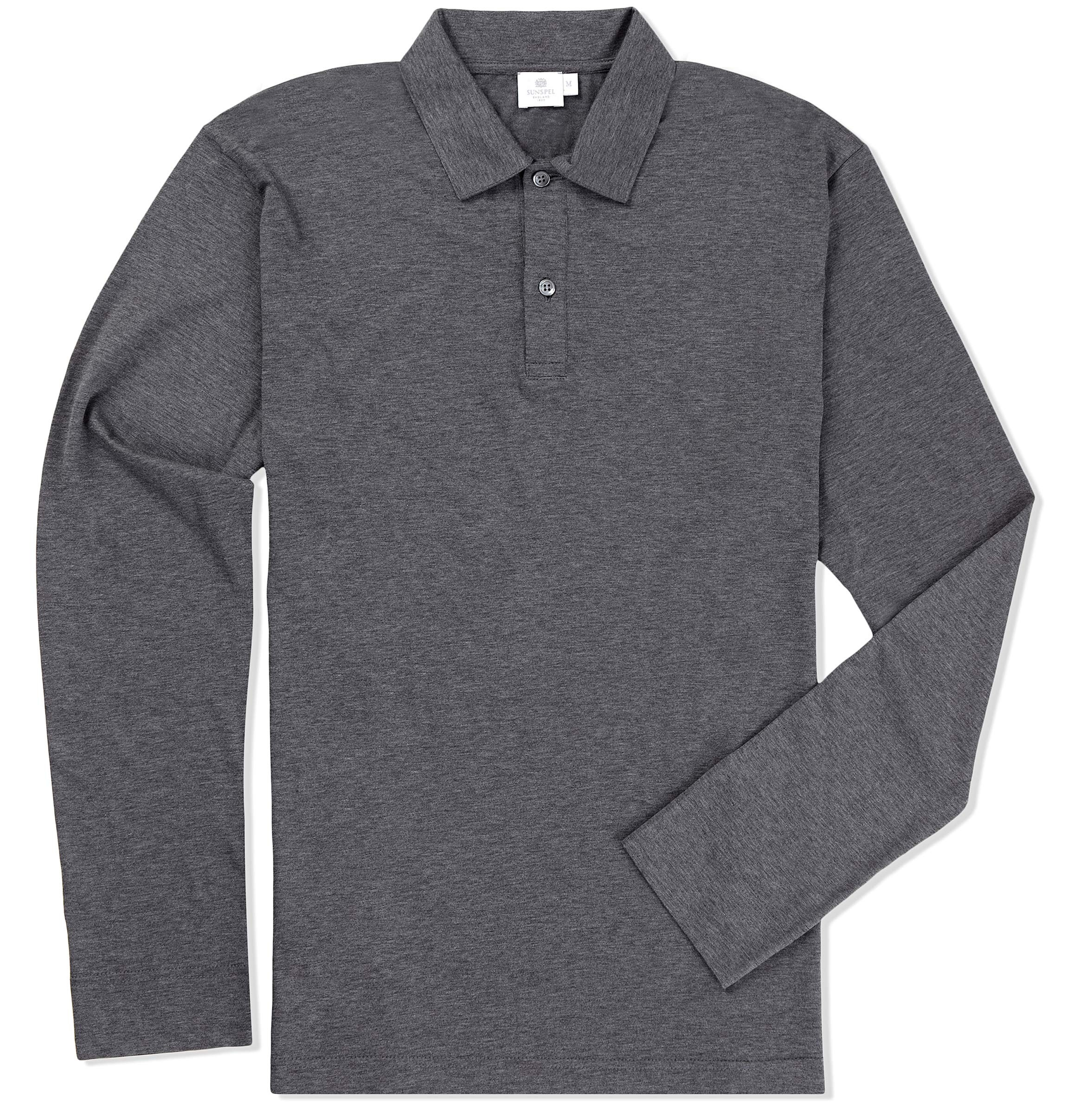 Lyst Sunspel Long Sleeve Jersey Polo Shirt In Gray For Men