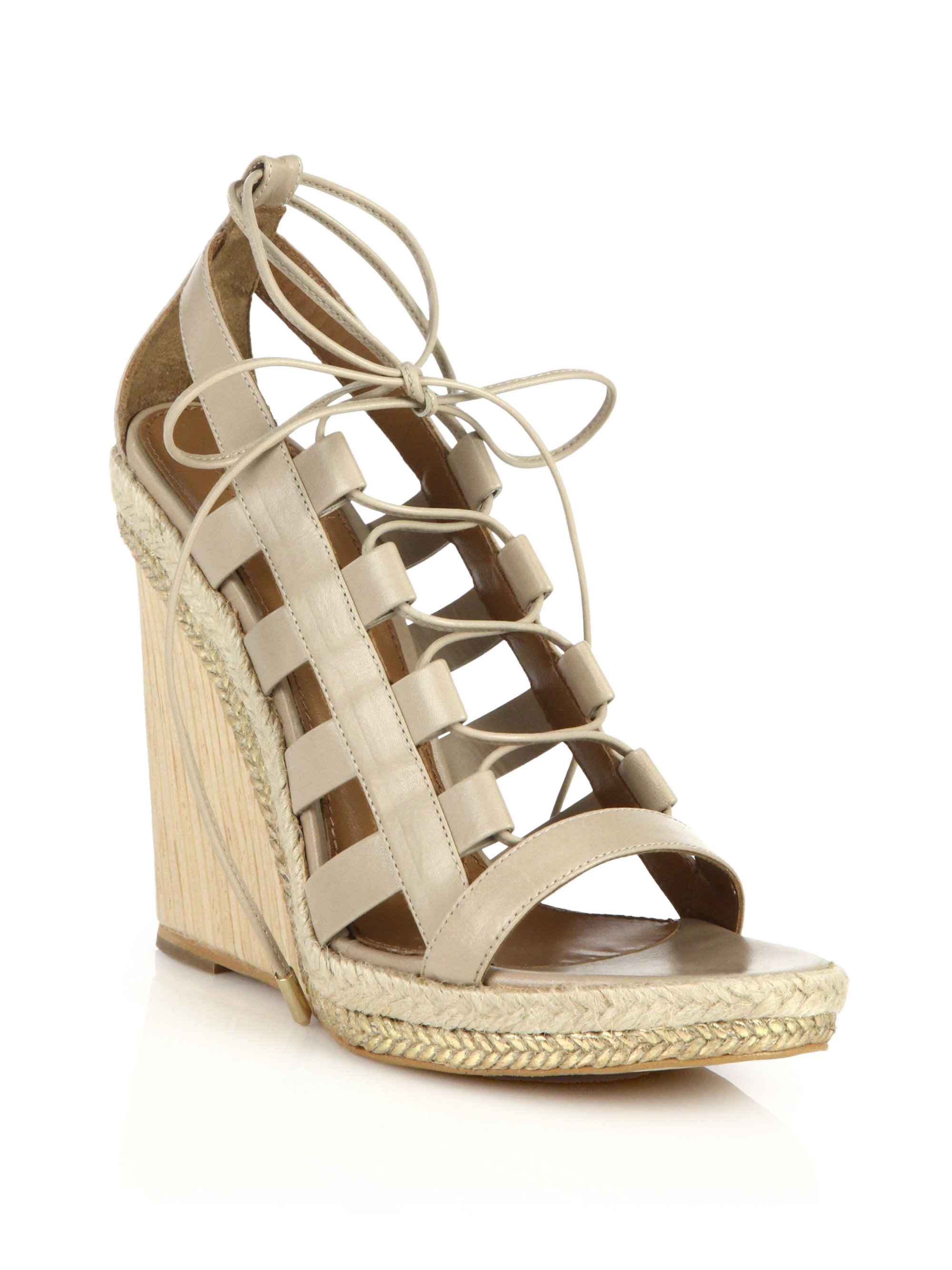 Lyst - Aquazzura Amazon Espadrille & Wooden-Wedge Lace-Up ...