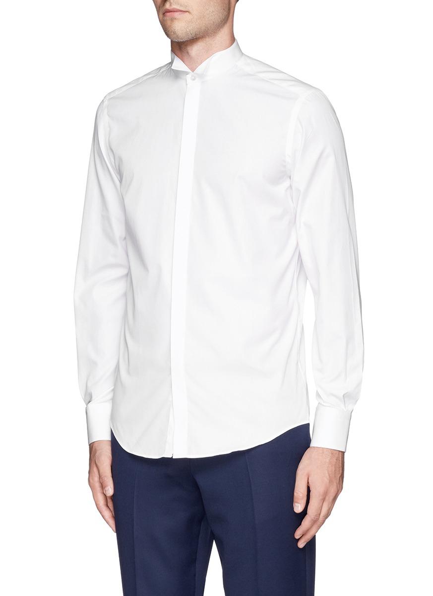 lyst lanvin wing tip collar poplin tuxedo shirt in white