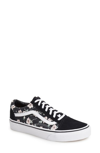 vans old skool vintage floral blue graphite
