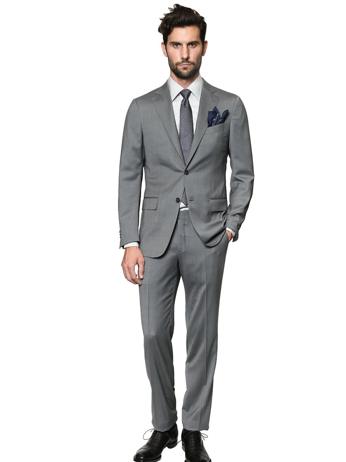 Ermenegildo zegna Milano Easy Wool Satin Suit in Gray for ...