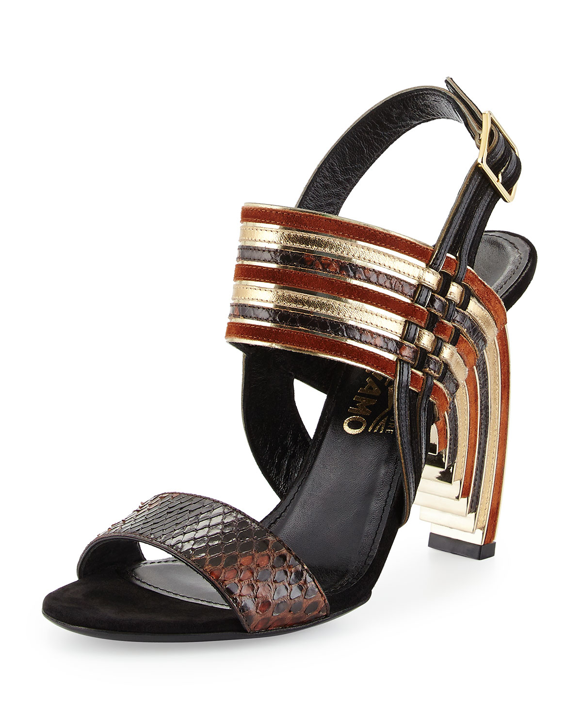 Ferragamo Lenny Python And Leather Geometric Sandals In