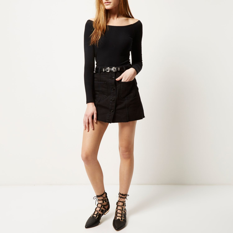 River island Black Denim Belted Button-up Skirt in Black | Lyst