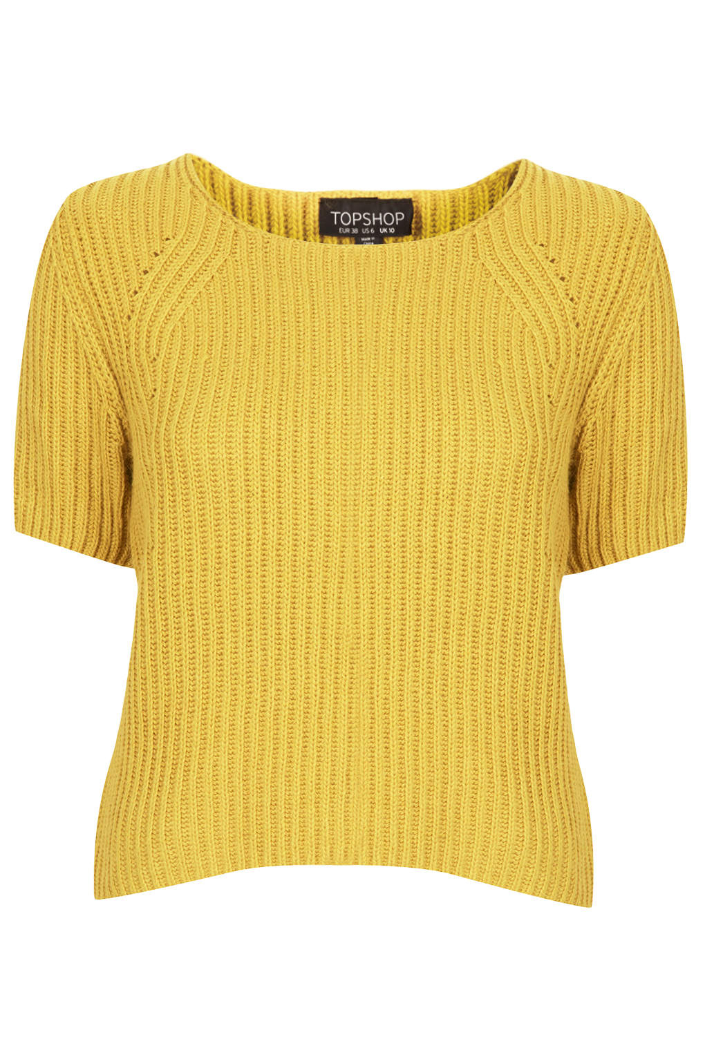 Lyst Topshop Knitted Short Sleeve Rib Top In Yellow