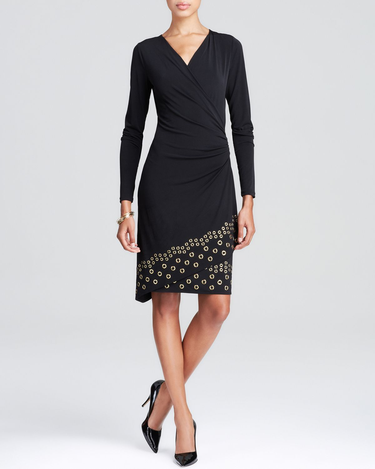 f709cd36e1 Lyst - MICHAEL Michael Kors Grommet Trim Dress in Black