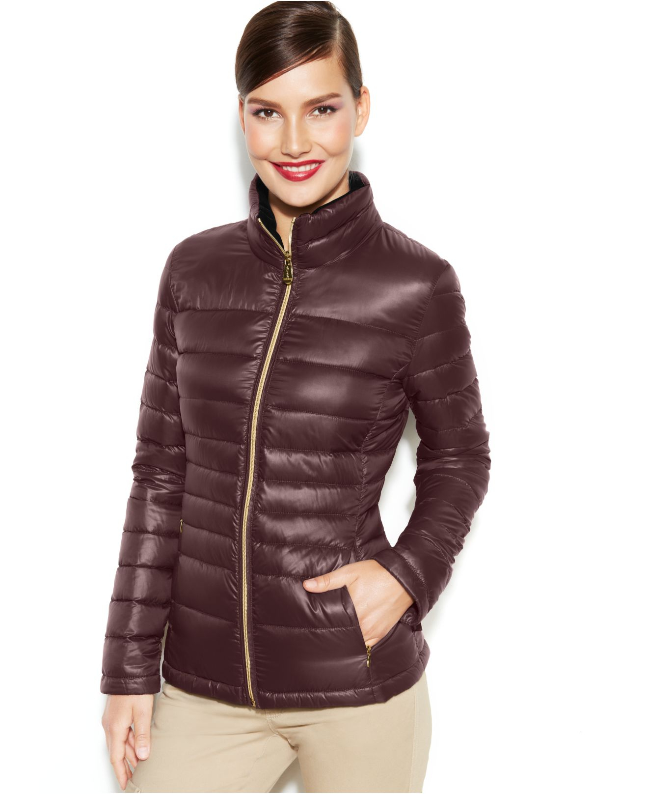 Lyst Calvin Klein Packable Quilted Down Puffer Coat In Red