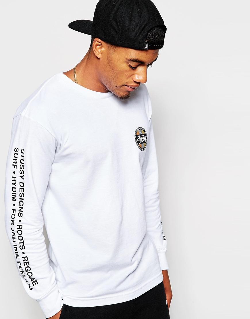 Stussy long sleeve t shirt with back dot print in white for Long sleeve t shirt printing