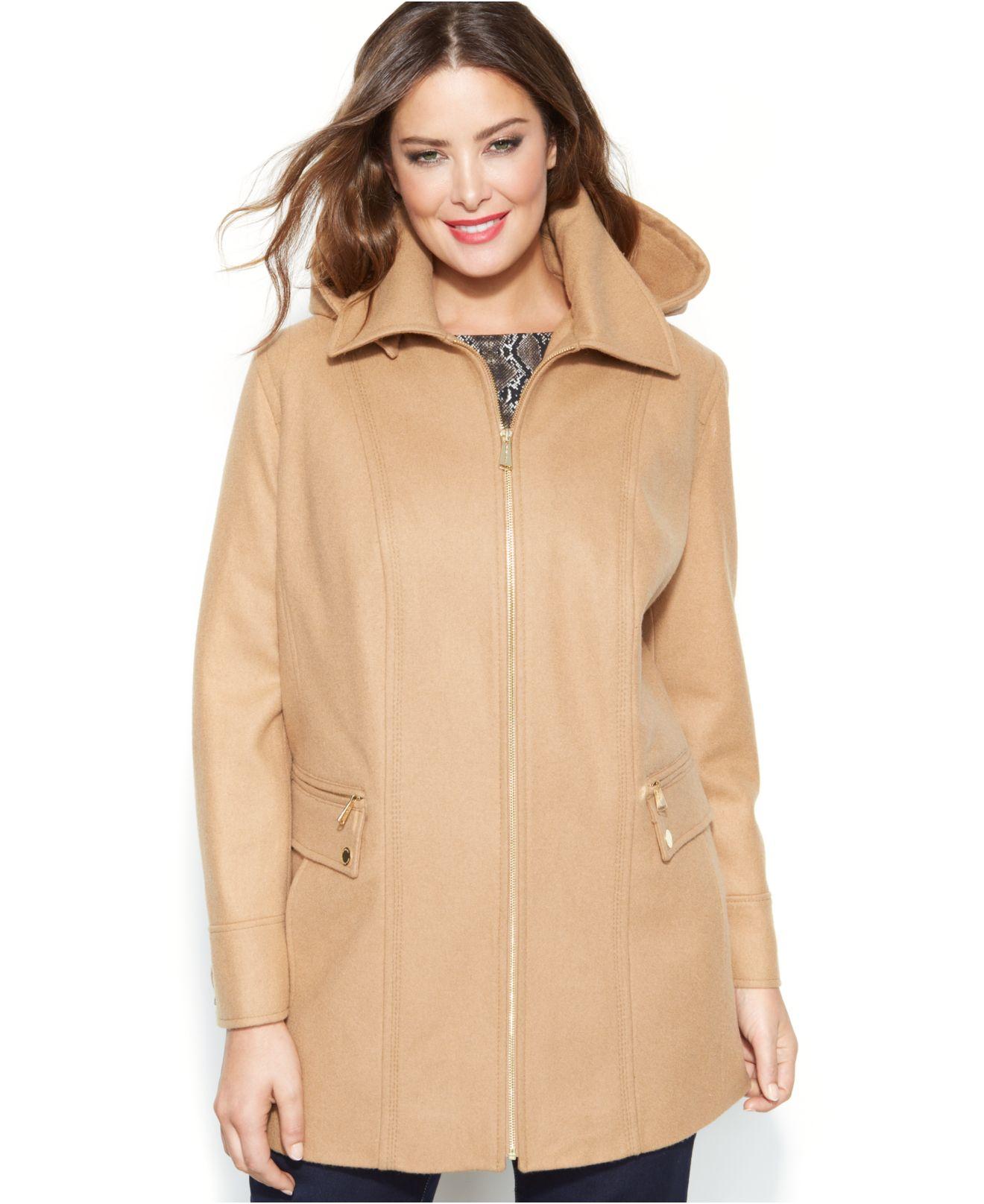 45d0d1e08c177 Lyst - Michael Kors Michael Plus Size Wool-Blend Hooded Coat in Natural