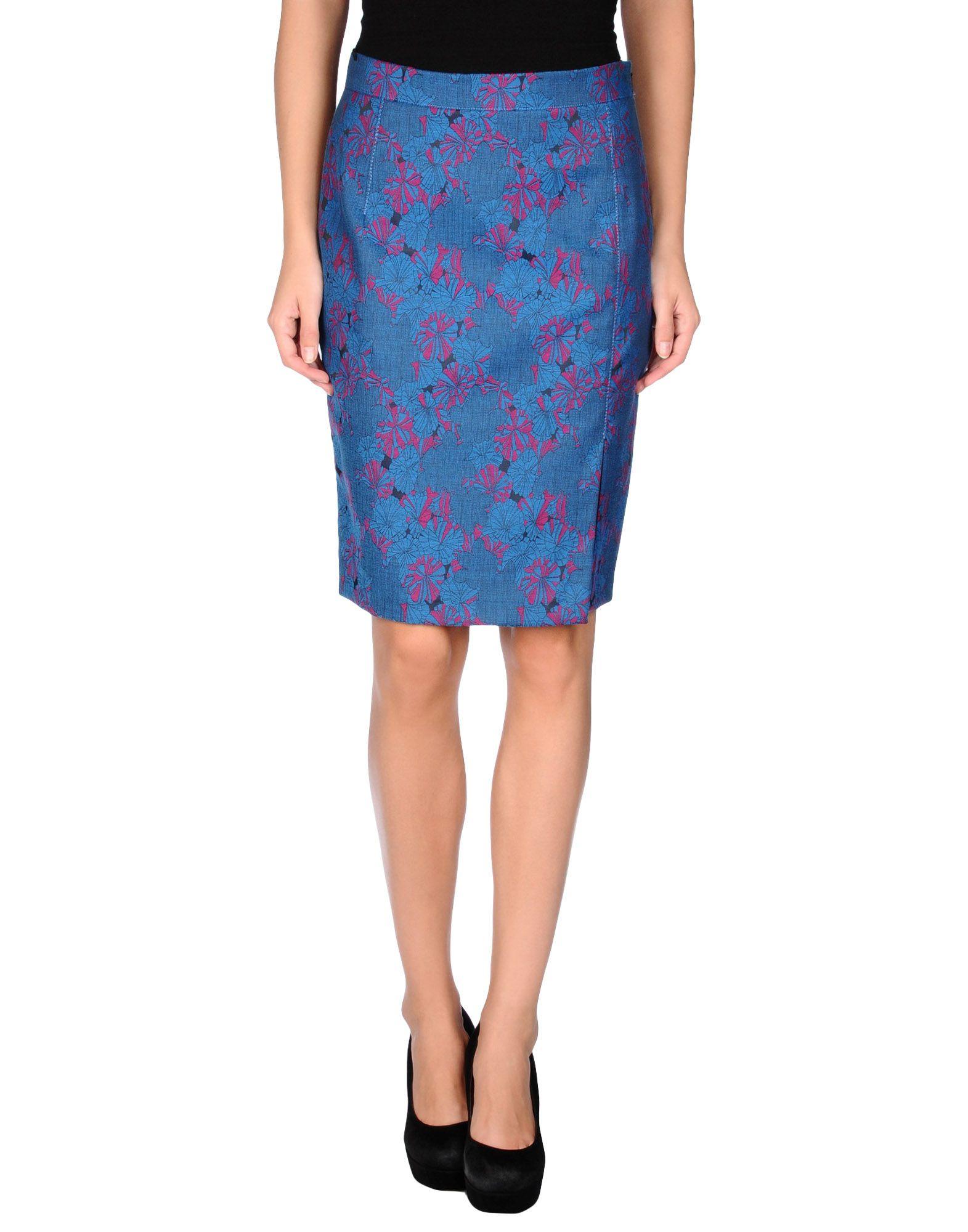 pinko knee length skirt in blue lyst