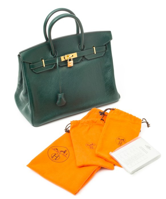 Herm¨¨s Green Leather Birkin 35 Vintage Large Satchel in Green | Lyst
