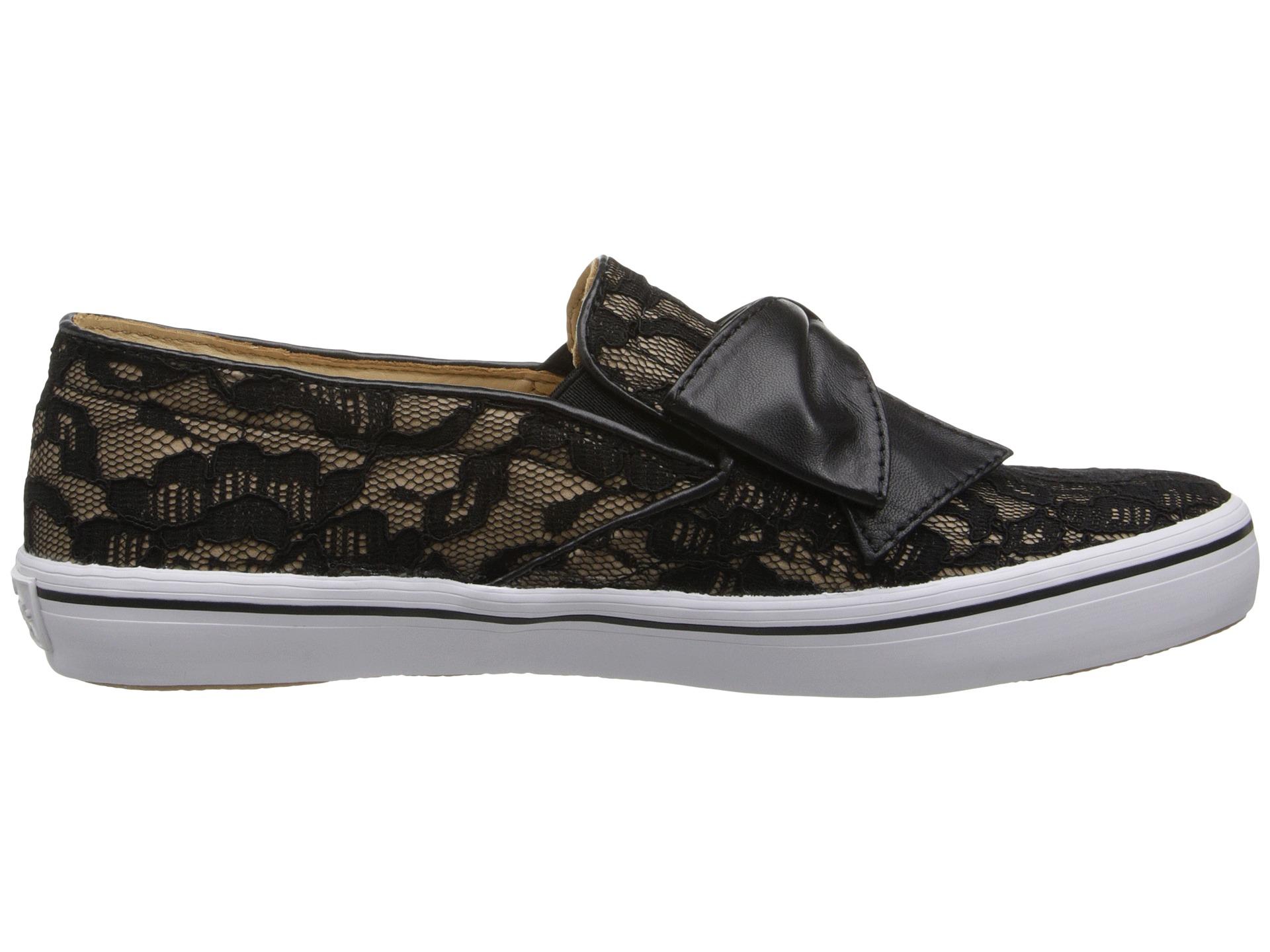 961ed5602048 Lyst - Kate Spade Delise Lace Bow Slip-On Sneaker in Black