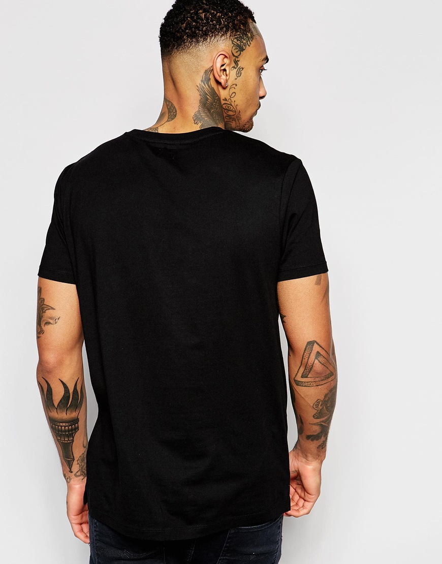 Asos Longline T Shirt With Typographic Print In Crackle