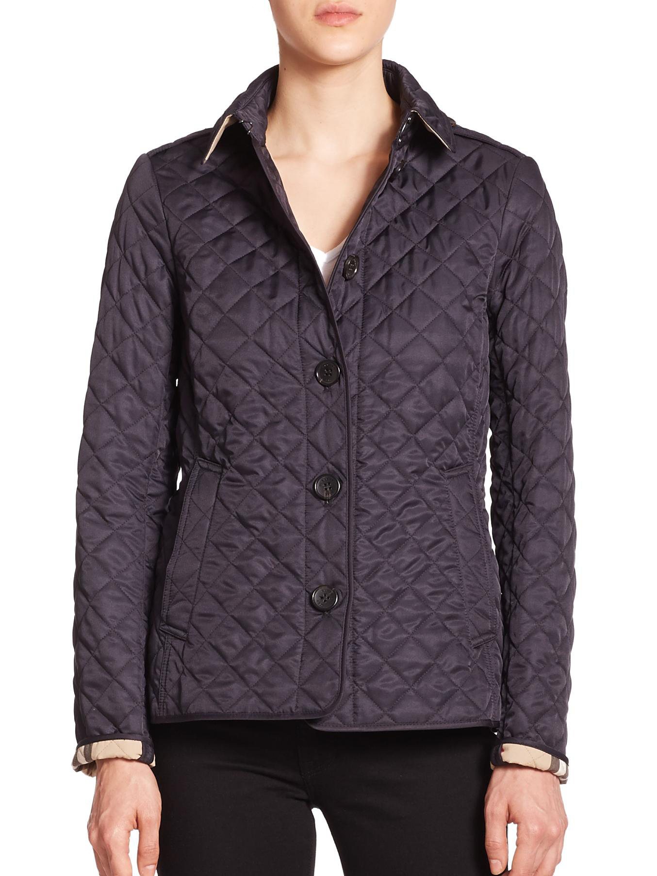 Burberry Ashurst Diamond Quilted Jacket In Blue Lyst