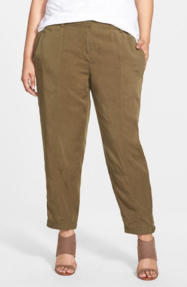 Eileen fisher Tencel Button Tab Cuff Ankle Pants in Green | Lyst