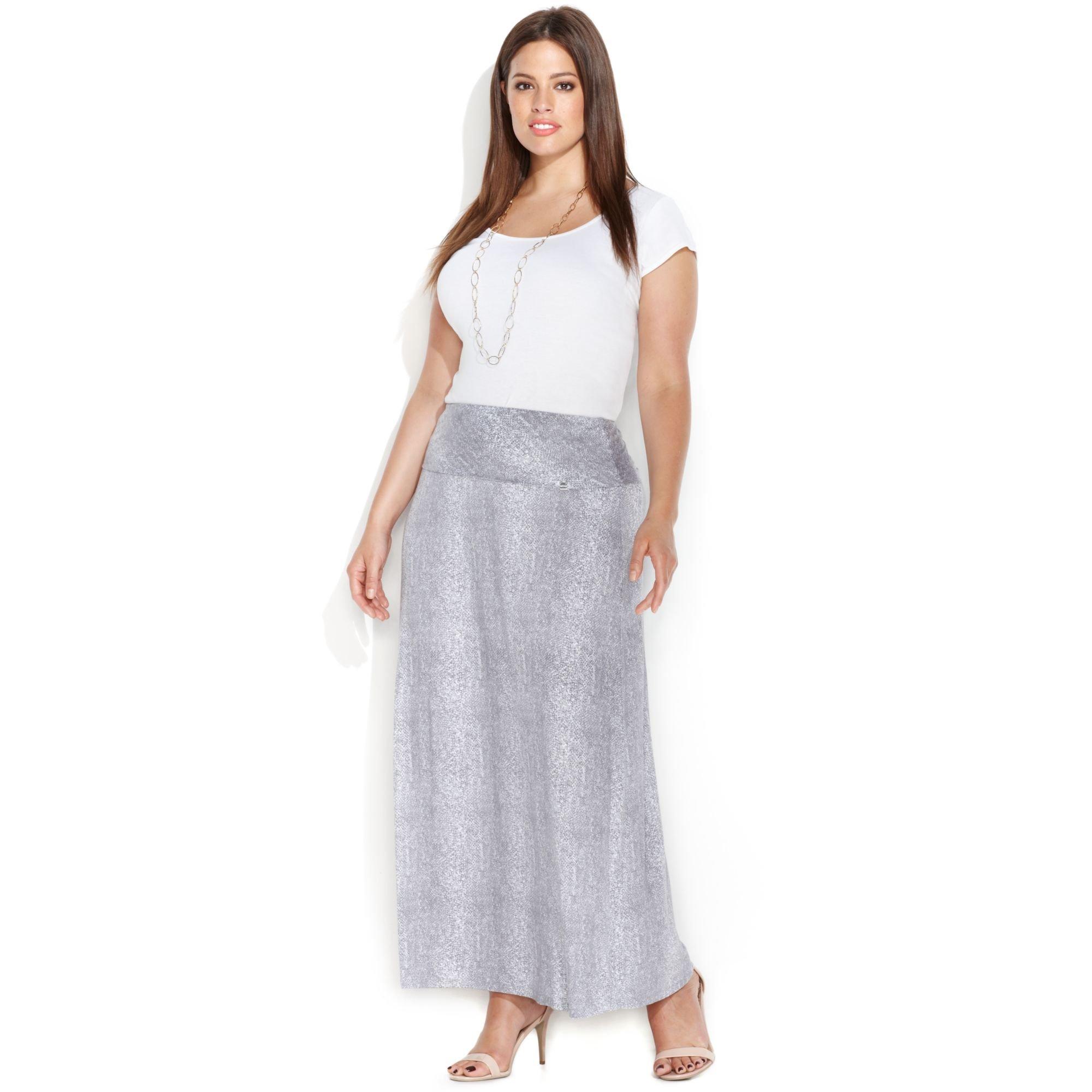 calvin klein plus size snakeskinprint maxi skirt in gray