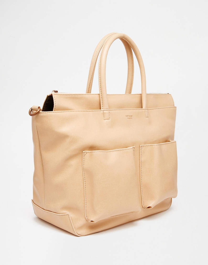 Matt & nat Large Tote Bag With Pockets in Pink | Lyst