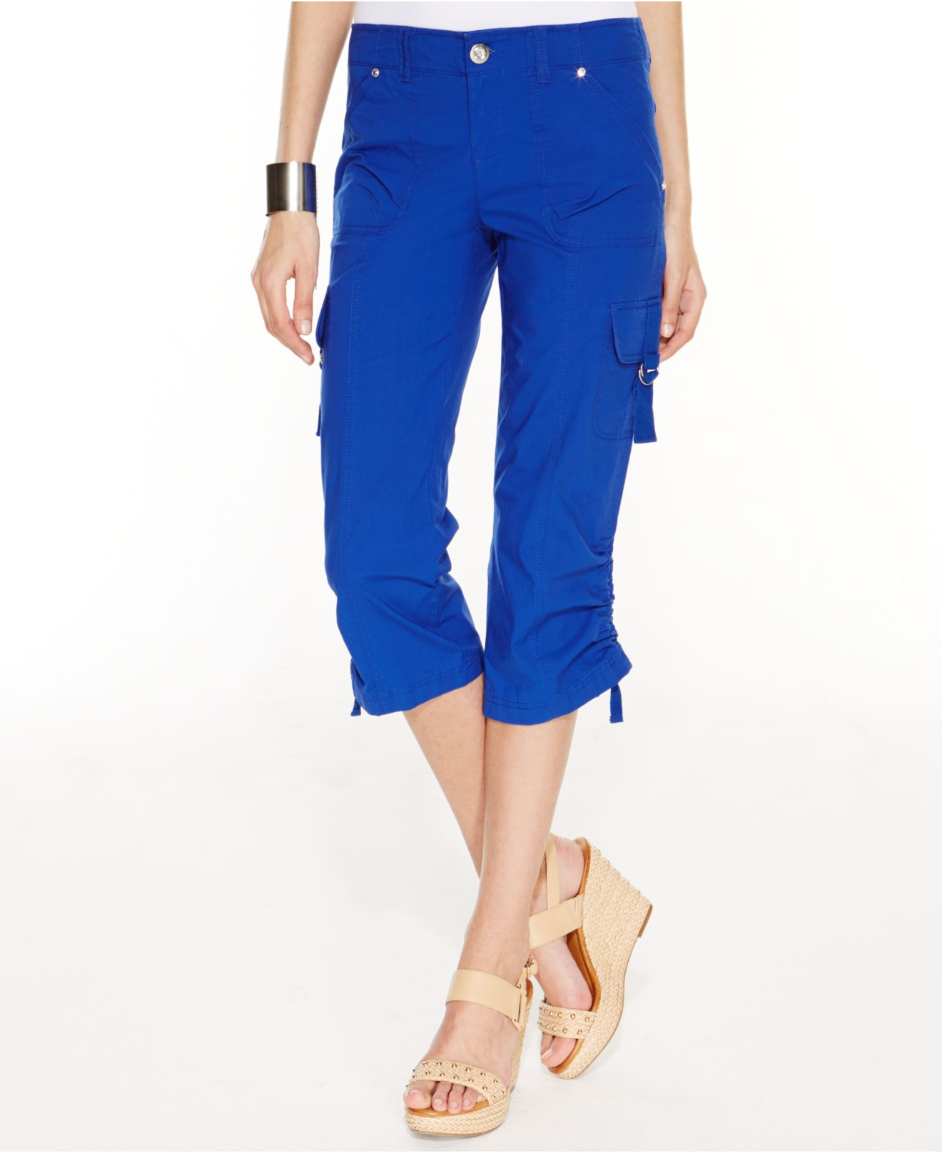 Inc international concepts Curvy-fit Ruched Cargo Capri Pants in ...
