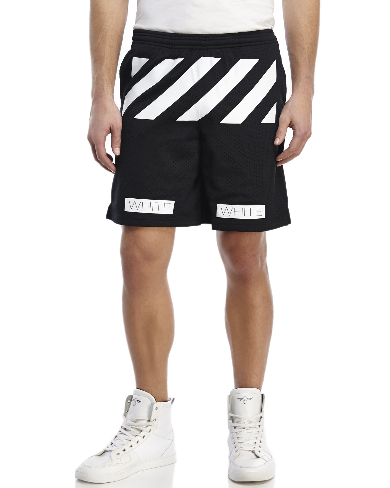 Off-white c/o virgil abloh Striped Mesh Shorts in Black for Men | Lyst