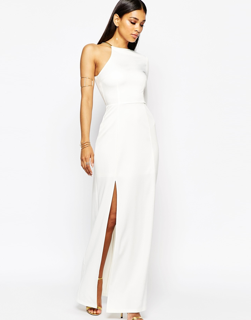 Missguided Thigh High Split Maxi Dress in White | Lyst