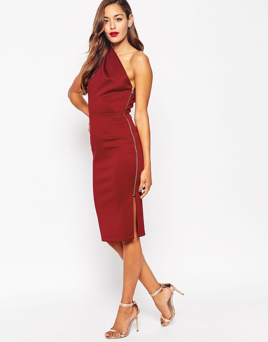 Asos One Shoulder With Exposed Zip Dress in Purple | Lyst