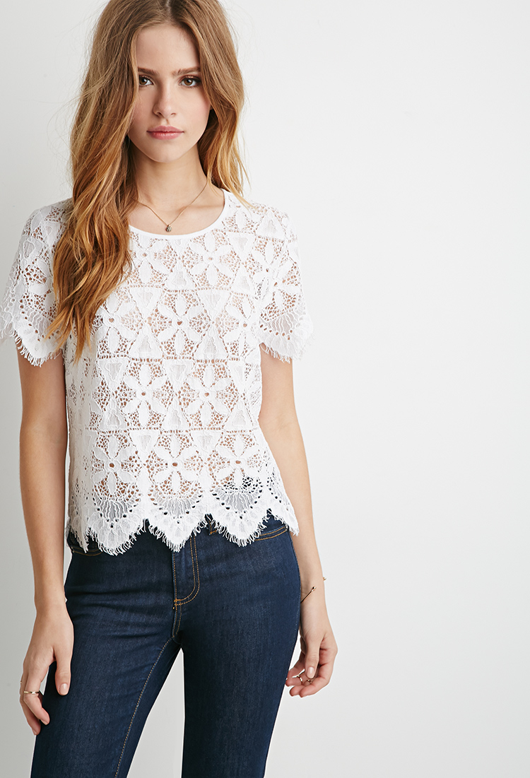 Lyst - Forever 21 Embroidered Eyelash Lace Top in White
