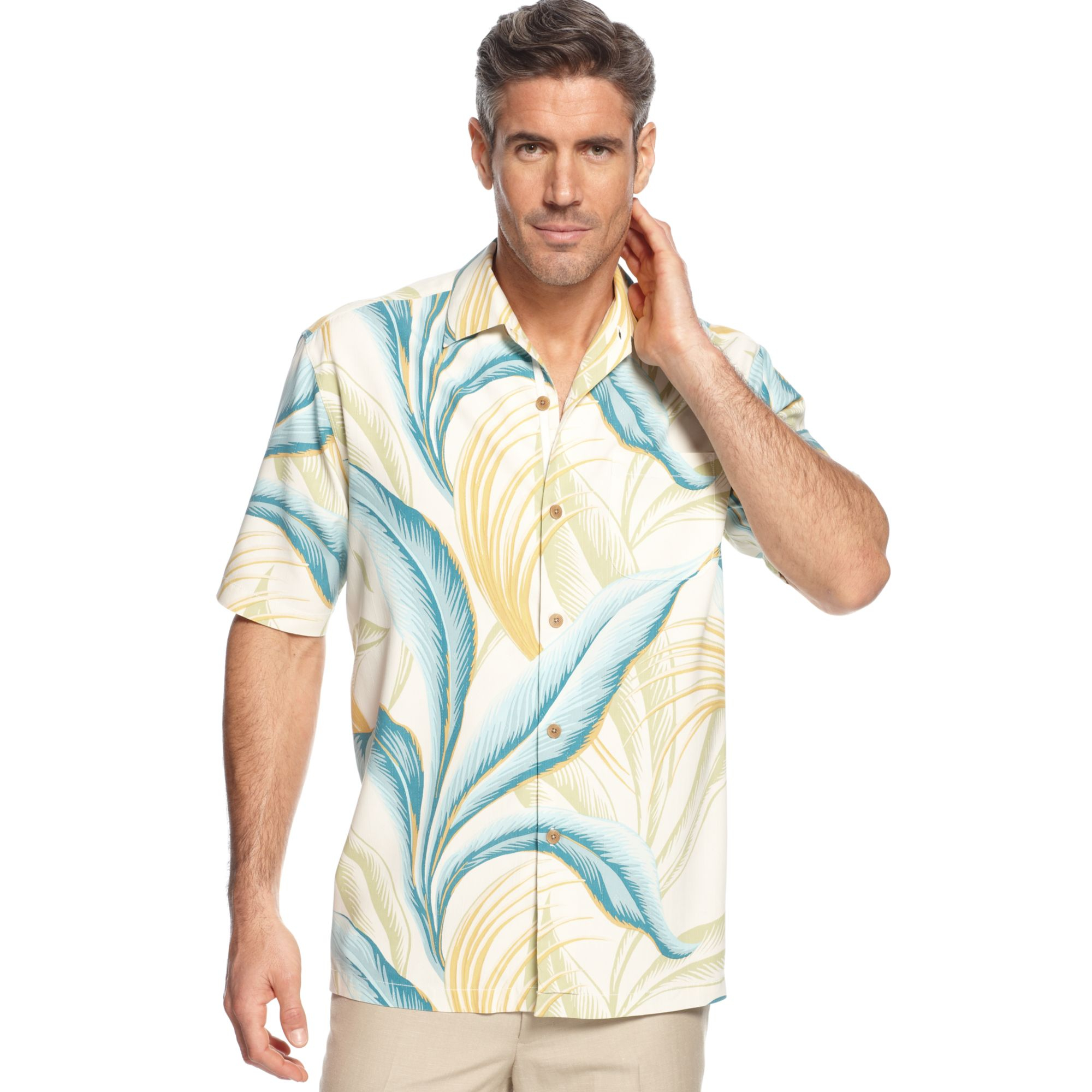 Lyst tommy bahama trelawny leaf shirt in blue for men for Tommy bahama christmas shirt 2014